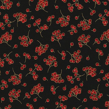 Kaufman Holiday Flourish 13 Metallic 19263 2 Black Berry Stems By The Yard