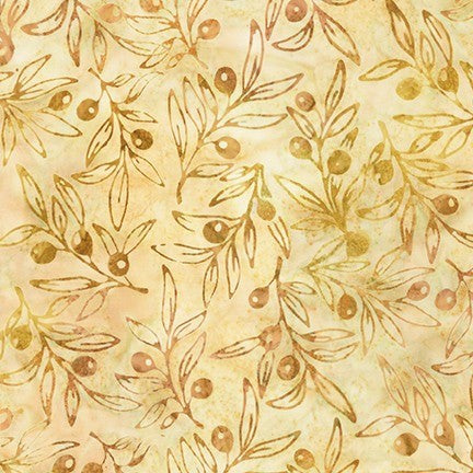 Kaufman Impressions Of Tuscany 2 Artisan Batiks 19438 124 Maize Olive Branches By The Yard