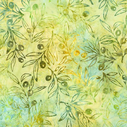 Kaufman Impressions Of Tuscany 2 Artisan Batiks 19438 7 Green Olive Branches By The Yard