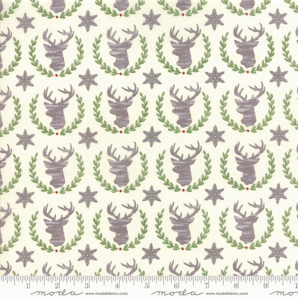 Moda Hearthside Holiday 19832 11 Vanilla Laurel Deer By The Yard