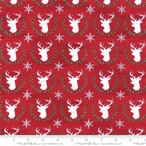 Moda Hearthside Holiday 19832 14 Red Berry Laurel Deer By The Yard