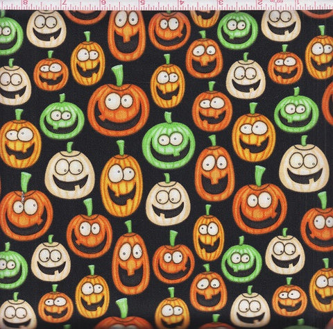 RJR Halloween A Haunting We Will Go 1983 2 Black Colorful Pumpkin Faces by the yard