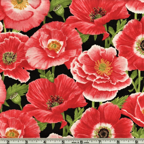 Henry Glass & Co. Poppy Meadows 1985 89 Red Large Poppies By The Yard