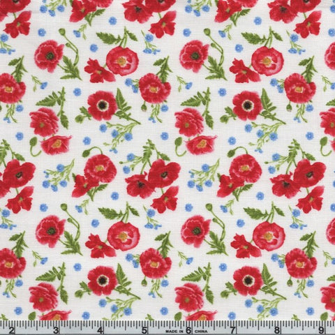 Henry Glass & Co. Poppy Meadows 1990 18 Multi Tossed Poppies By The Yard