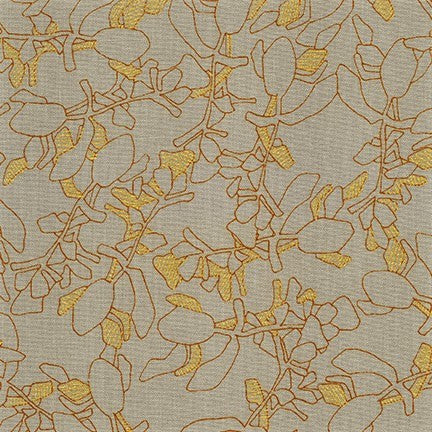 Kaufman Collection CF Metallic Neutral Colorstory 19928 383 Shitake Abstract Sprigs By The Yard