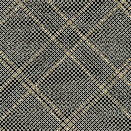 Kaufman Collection CF Metallic Neutral Colorstory 19932 183 Pewter Grid Plaid By The Yard