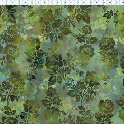 In The Beginning Fabrics Diaphanous 1ENC 3 Leaf Night Bloom By The Yard