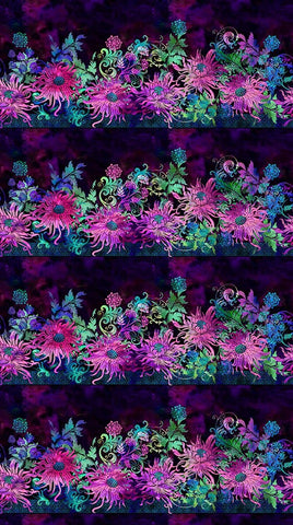 In The Beginning Floragraphix V 1FGE 2 Purple Floral Stripe By The Yard