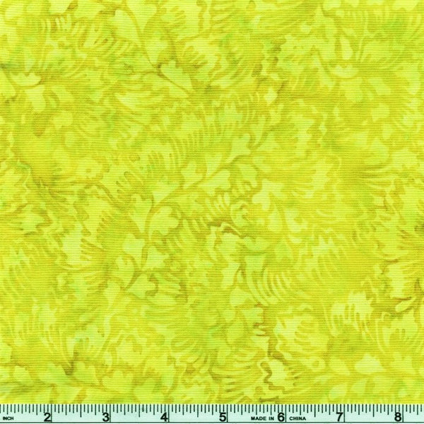 Anthology Bali Batiks 2009Q 6 Green Chartreuse Feathered Leaves By The Yard