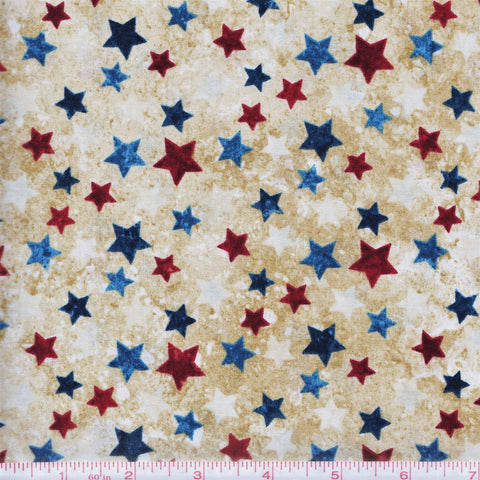 Northcott Stars & Stripes 20159 30 Beige Multi Star Array by the yard