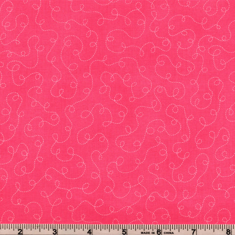 RJR Fabrics Basically Patrick 2032 1 Bubblegum With White Squiggle Trails By The Yard