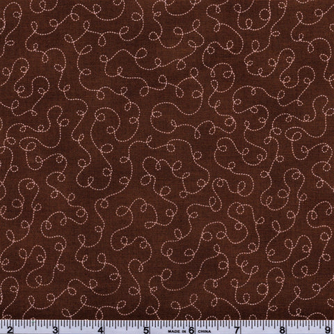 RJR Fabrics Basically Patrick 2032 3 Chocolate With White Squiggle Trails By The Yard