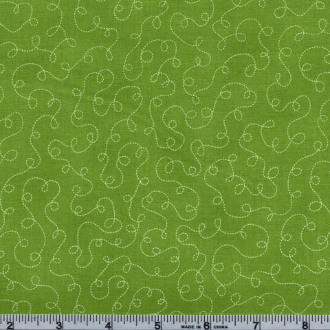 RJR Fabrics Basically Patrick 2032 4 Apple Green With White Squiggle Trails By The Yard