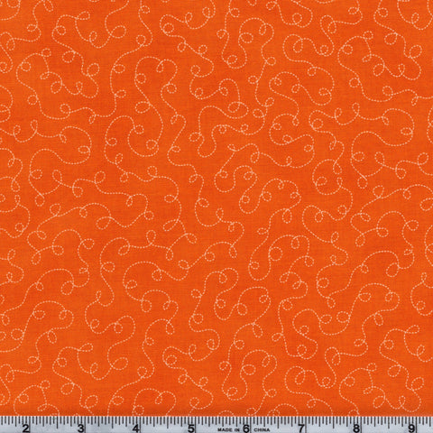 RJR Fabrics Basically Patrick 2032 5 Madarin with White Squiggle Trails  By The Yard