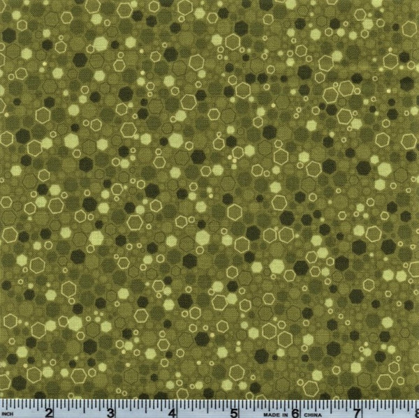 RJR Fabrics Basically Patrick 2034 6 Moss Hexagons By The Yard