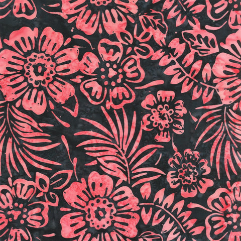 Anthology Batik Mary Inman 2036Q X Charcoal Flowers By The Yard
