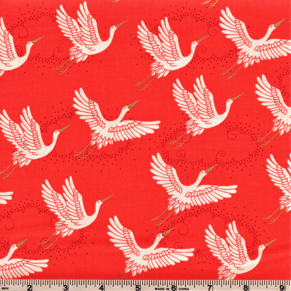 Makower UK Kimono Metallic 2047 R Cranes On Maraschiano Red By The Yard