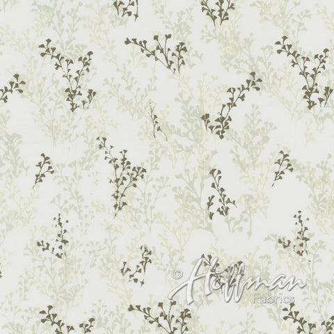 Hoffman Bali Batik Metallic 2057 296 Natural & Gold Multi Branches On Cream By The Yard