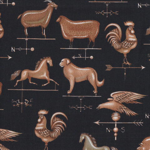 RJR Fabrics Happy Homestead 2057 2 Black Animal Weather Veins by the yard