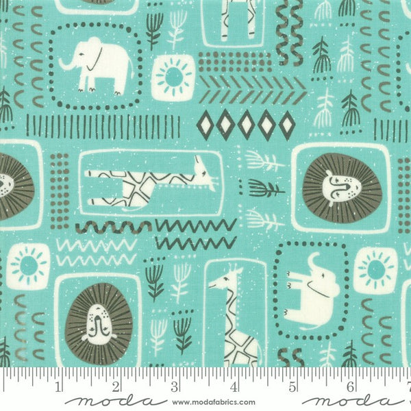 Moda Safari Life 20644 20 Aqua African Animal Print By The Yard