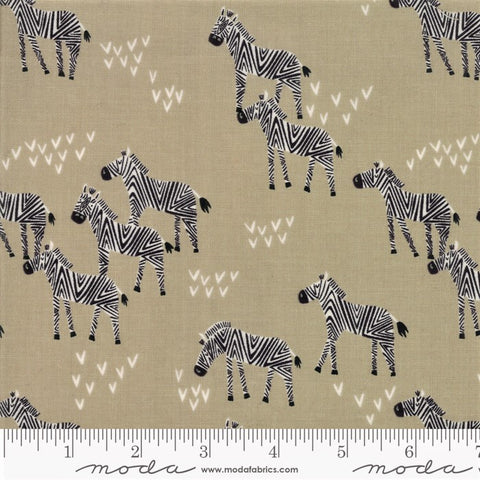 Moda Safari Life 20645 12 Khaki Grazing Zebra By The Yard