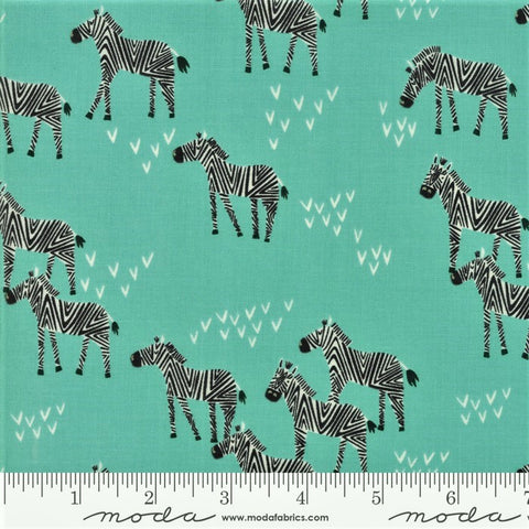 Moda Safari Life 20645 20 Aqua Grazing Zebra By The Yard