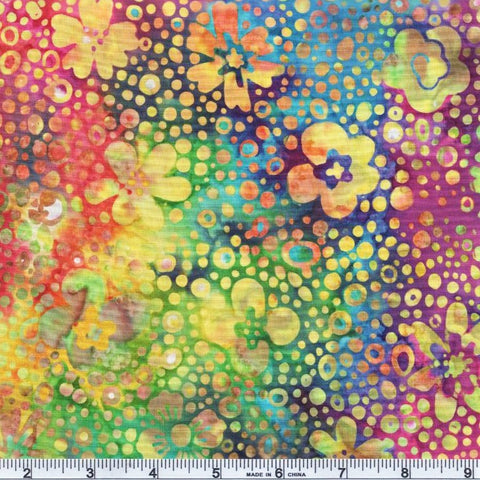 Hoffman Batik Primary Paradise 2095 633 Prism Bubble Floral By The Yard