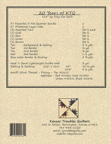 20 Years Of KTQ - 12 Month Block-of-the-Month Series - Kansas Troubles Quilt Pattern Booklet KT 20130