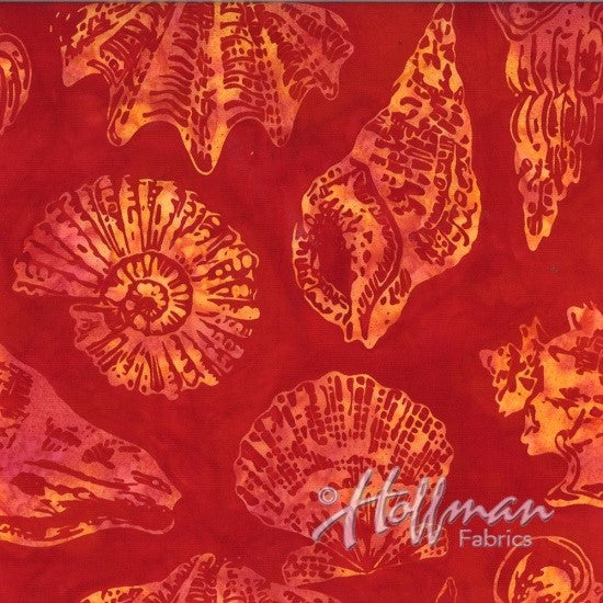 Hoffman Bali Batik 2102 444 Seashell Party On Chillies Red by the yard