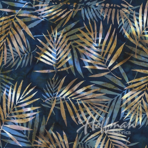 Hoffman Bali Batik 2104 19 Navy With Variegated Palm Ferns By The Yard