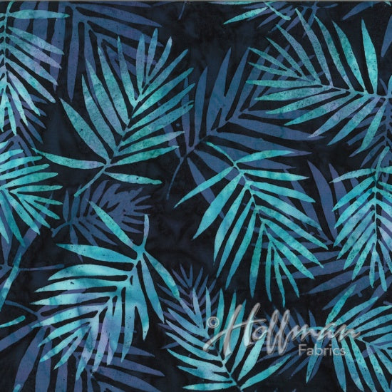Hoffman Bali Batik 2104 512 Paradise Aqua & Lavender Palm Ferns By The Yard