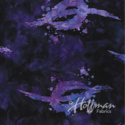 Hoffman Bali Batik 2114 358 Painter's Large Abstract On Vegas Violet By The Yard