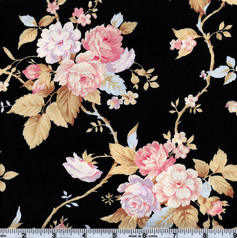 RJR World Of Romance 2120 1 Pink Floral On Black By The Yard