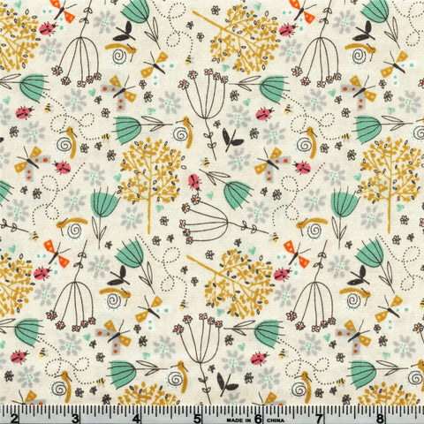 Makower A Walk In The Park 2142 Q Park Flowers Cream By The Yard