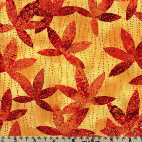 Northcott Artisan Spirit Metallic 21459 24 Sunglow Maple Leaves By The Yard