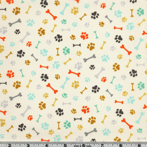 Makower A Walk In The Park 2146 Q Paws & Bones Cream By The Yard