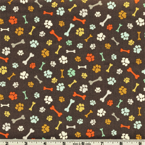 Makower A Walk In The Park 2146 S Paws & Bones Grey By The Yard