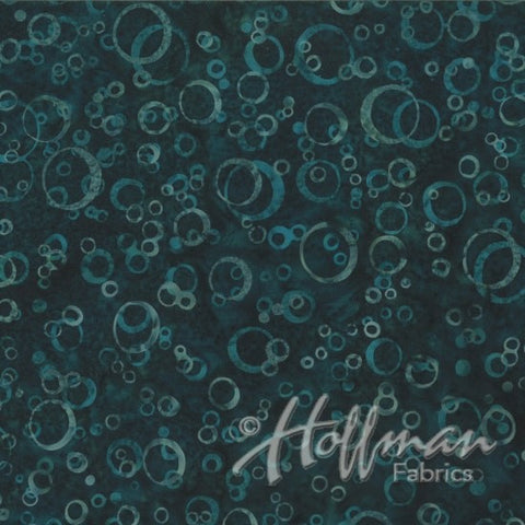 Hoffman Batik Open Waters 2165 21 Teal Water Bubbles By The Yard