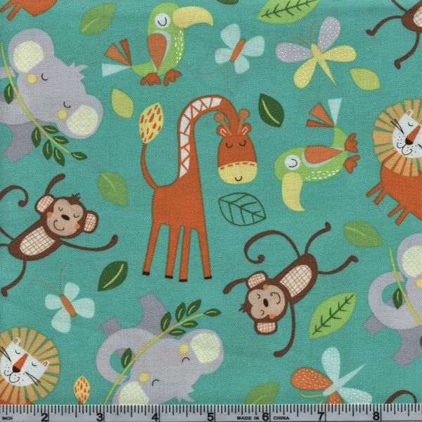 Northcott Jungle Friends 21793 65 Jungle Animals On Teal By The Yard