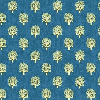 Makower UK Metallic Rhapsody 2180 B Blue Gold Trees By The Yard