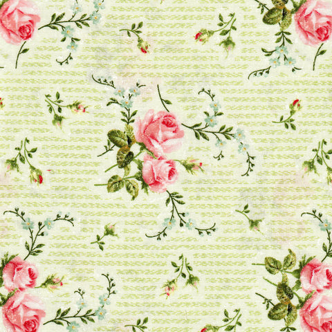 Northcott Hopelessly Romantic 21813 71 Green Stripe with Roses By The Yard
