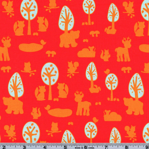 RJR Fabrics Woodland Park 2210 1 Animal Silhouettes On Bright Red By The Yard