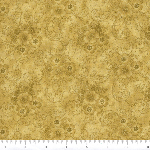 RJR Harlow 2231 2 Ornamental Floral On Green By The Yard