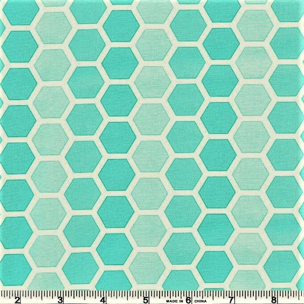 Moda Confetti 22322 14 Turquoise Honeycombs By The Yard