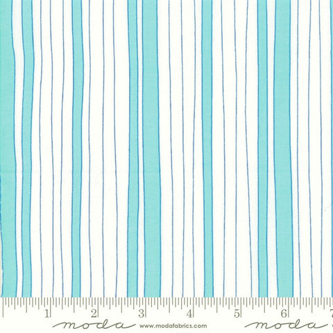 Moda Confetti 22326 14 Aqua/White Wonky Stripe By The Yard