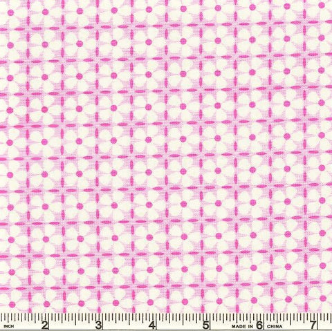 Moda Confetti 22328 11 Pink Button Flower Grid By The Yard