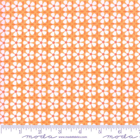 Moda Confetti 22328 16 Bright Orange Button Flower Grid By The Yard