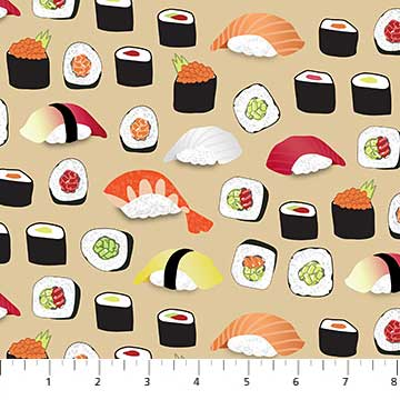 Northcott Sushi 22365 12 Sushi Rolls On Beige By The Yard