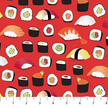 Northcott Sushi 22365 24 Sushi Rolls On Red By The Yard