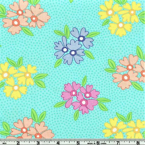 Moda Good Day 22370 12 Aqua Bunches Of Blooms By The Yard
